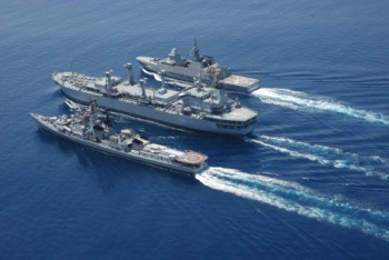 Mid-sea replenishment underway during SIMBEX 2010, the joint exercise between the Indian and Singapore navies.