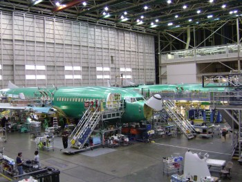 The 737 assembly line at Puget Sound.
