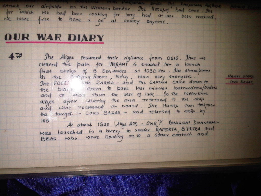 An extract from the sqaudron diary during the '71 war.