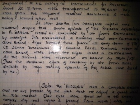 Excerpt from the Squadron Diary during the '71 war.
