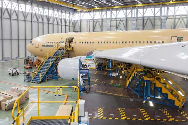 A green Airbus A-330 undergoing conversion to the military MRTT version at Getafe, Spain | Photo: Airbus Military