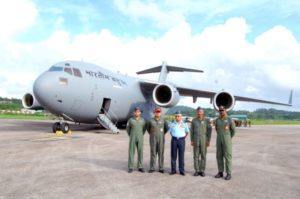 The first IAF C-17 at Port Blair in early July.